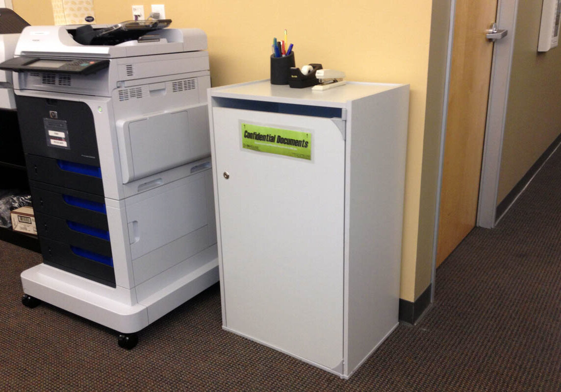 on site shredding service - locked executive console used for document shredding collection